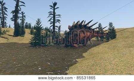 kentrosaurus walking in water
