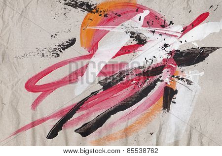 Abstract grunge painted background with expressive brush strokes