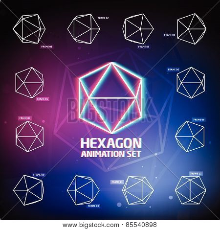 Vector Hexagon Animation Set