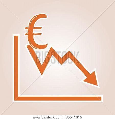 Decreasing Graph With Euro Symbol