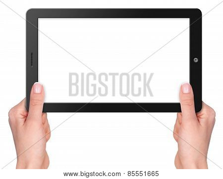 Computer Tablet With Hands