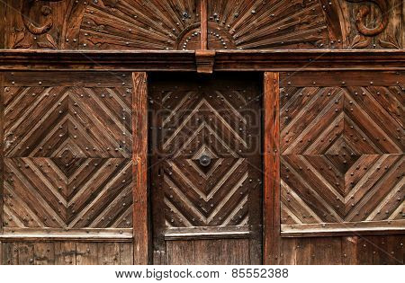 Traditional wooden door in Transylvania, Romania, Europe