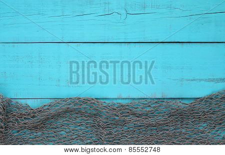 Blank wood sign with fish netting border