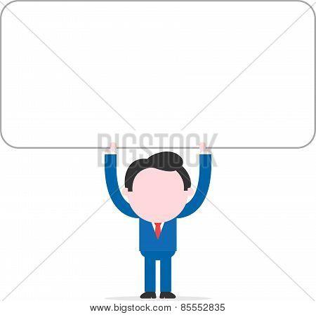 Businessman Holding Overhead Wide Blank Banner