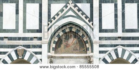 Florence (Firenze Tuscany Italy): the medieval church of Santa Maria Novella facade detail poster