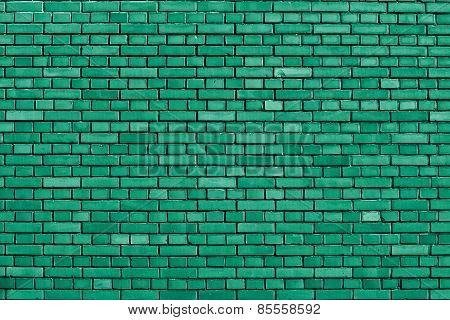 Emerald Green Brick Wall Background