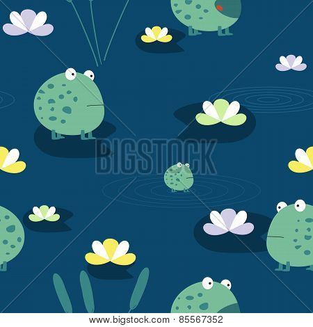 Cute frog, seamless pattern
