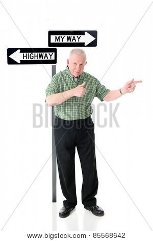 A senior adult man standing before a