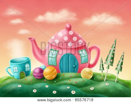 Fantasy teapot and teacup houses