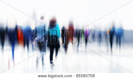 Business People Rush Hour Walking Commuting City Concept poster