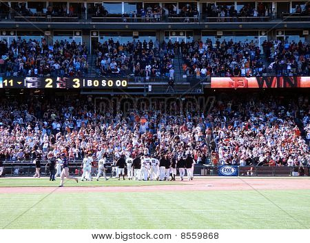 Giants Celebrate A Win With Their Fans