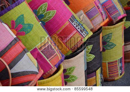 multi colored jute bags