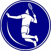 Icon illustration of a badminton player holding racquet jumping smashing viewed from side set inside circle on isolated background done in retro style. poster