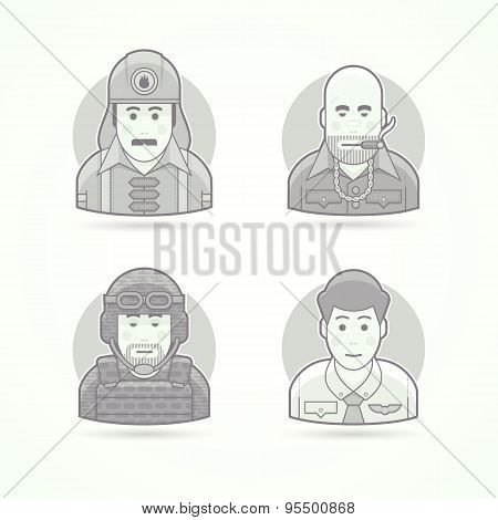 Firefighter, gangster, soldier and steward icons. Avatar and person illustrations. Flat black and wh