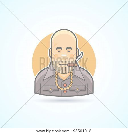 Criminal, gangster, bouncer icon. Avatar and person illustration. Flat colored outlined style.