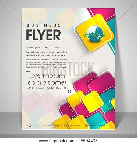 Abstract flyer design for business with its shadow, image of globe, address bar, place holder and mailer.