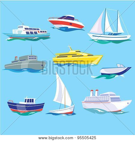 Set of Sea Ships Water Carriage and Maritime Transport