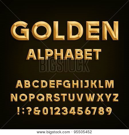 Golden Beveled Font. Vector Alphabet.