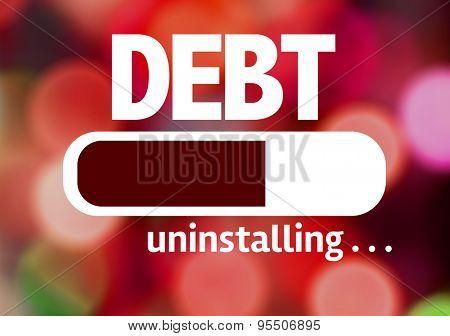 Progress Bar Uninstalling with the text: Debt