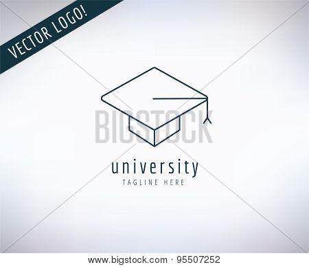 Graduation Hat vector logo icon. Education, students or school and college symbol. Stocks design ele