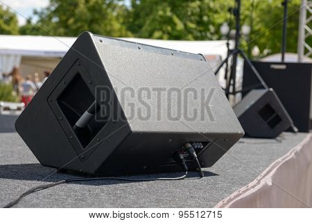 Black Sound Monitor On The Stage