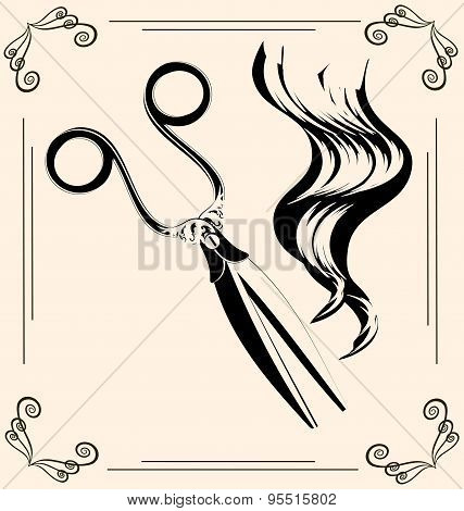 black outlines of womans hair and vintage scissors poster