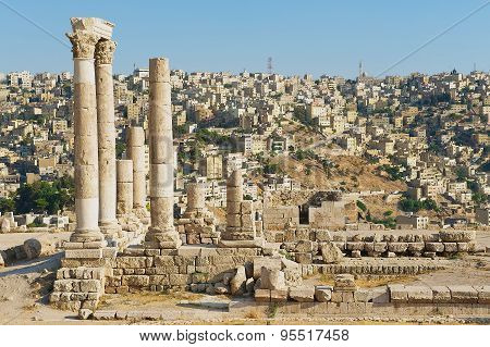 View to the ancient stone columns at the Citadel of Amman, Jordan.