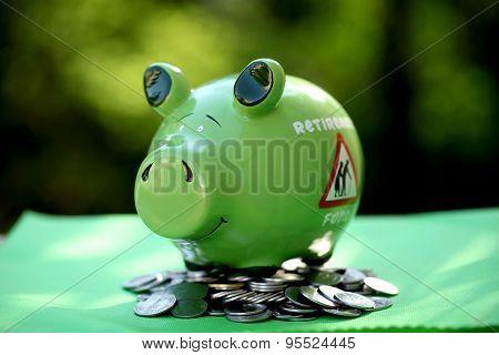 Piggy Bank With Sunset Light - Money Concept