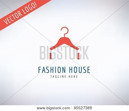 Hanger vector logo icon. Style, Fashion or Shop and Dress symbol. Stocks design elements