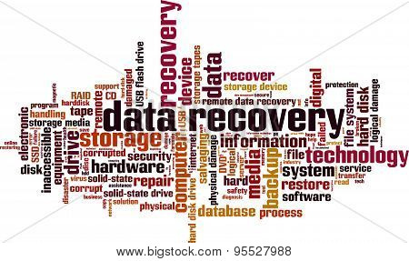 Data recovery word cloud concept. Vector illustration poster