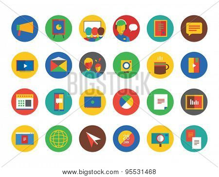 Webinar Icons Vector Set. Learn, Education or Business and Online symbols. Stocks design elements.