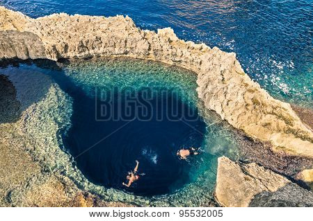 Deep Blue Hole At The World Famous Azure Window In Gozo Island - Mediterranean Nature Wonder