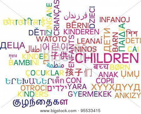 Background concept wordcloud multilanguage international many language illustration of children
