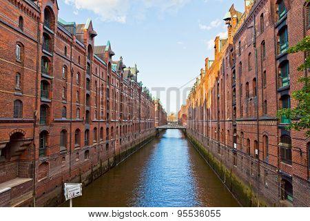 Speicherstadt Disctrict In Hamburg, Germany