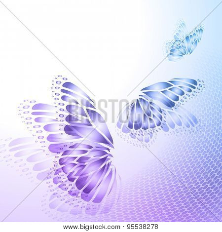 Abstract blue  purple background with  butterfly wings