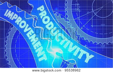 Productivity Improvement Concept. Blueprint of Gears.