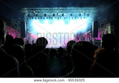 Crowd Of Partying People At A Live Concert