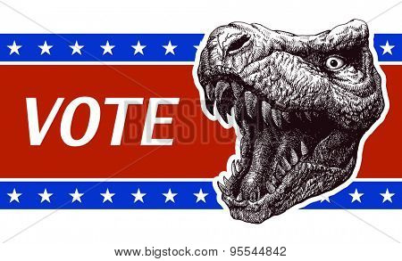 Vote Poster with T-rex head.
