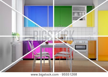 Kitchenette in a colorful kitchen in rainbow colors (3D Rendering)