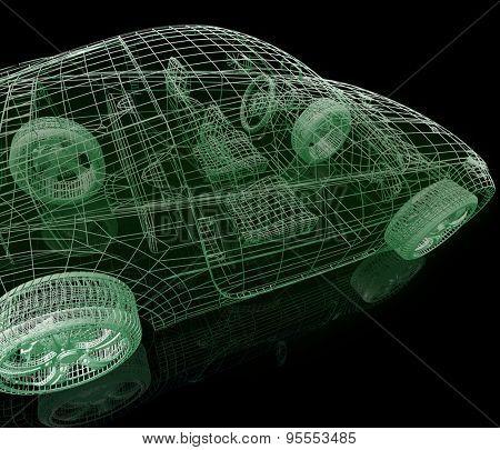 Model car. 3d illustration on black background