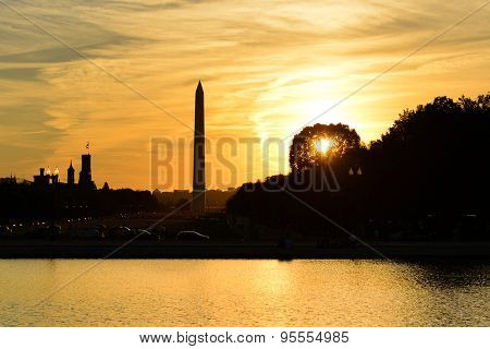 Washington DC - National Mall at sunset with Washington Monument and Reflection pool of the Capitol