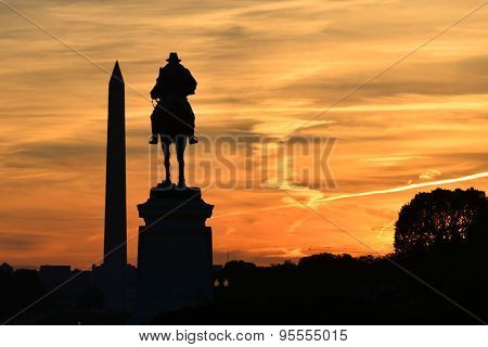 Washington DC - Ulysses S. Grant Memorial and Washington Monument silhouettes in sunset