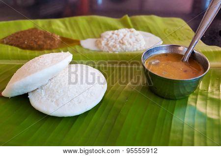 Indian Breakfast Idli On Palm Leaf