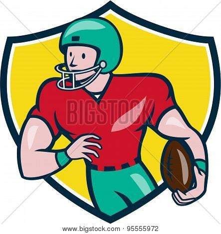 American Football Receiver Running Shield Cartoon