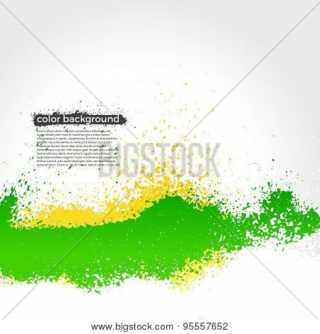 Green And Yellow Splatter Paint Grunge Bright Background