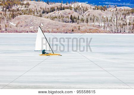 Ice-boat Sailing Frozen Lake Laberge Yukon Canada