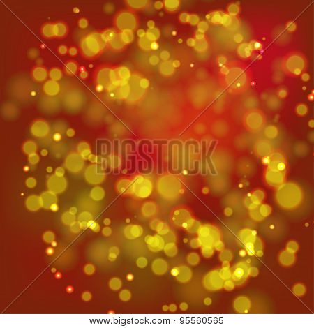 Gold and red bokeh