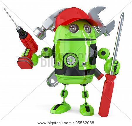Green robot with tools. Technology concept. Isolated over white. 3D illustration. Isolated. Contains clipping path