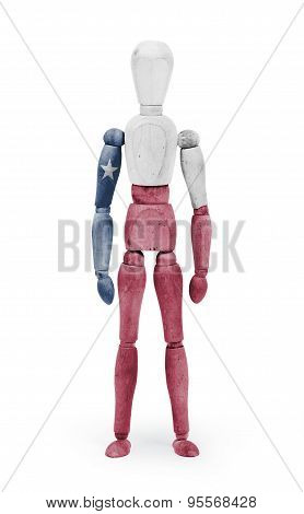 Wood Figure Mannequin With Us State Flag Bodypaint - Texas