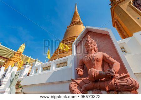 God of Music at Wat Bovorn (Bowon) Nivet Viharn in Bangkok Thailand poster